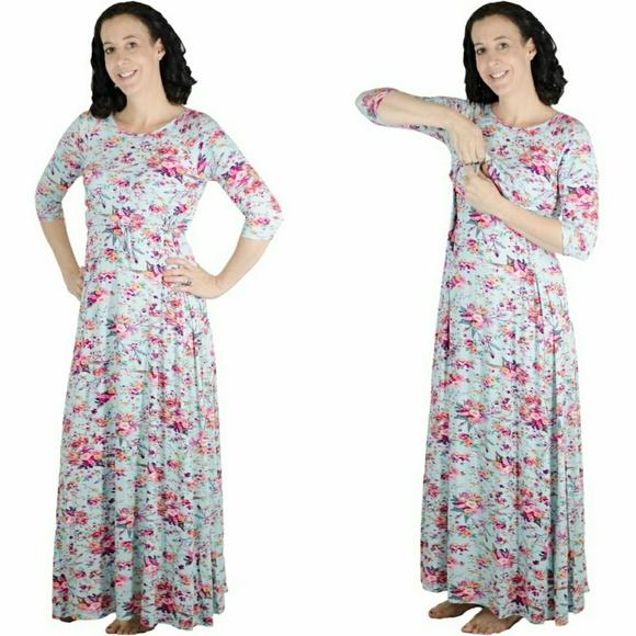 58188fa5ac7 latched mama Dresses   Skirts - Latched Mama 3 4 sleeve maxi nursing dress.